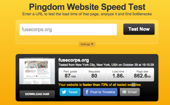 FuseCorps.org Performance on WP Engine